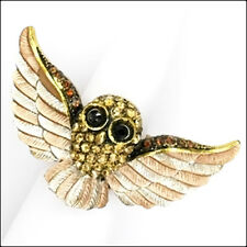 Owl Strigiformes Birds Pets Cocktail Stretch Rings Crystals Brown Jewelry Gold T