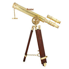 Artshai 16 inch double barrel brass telescope with tripod stand