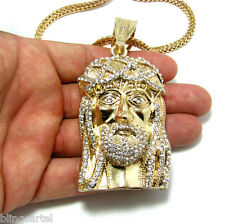 Jesus Piece Pendant Gold Finish Iced-Out Christ Head Heart Franco Chain Necklace