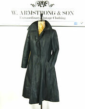 Women's Navy Blue VINTAGE 70s TRENCH MAC Shiny Alexa Chic Madmen MOD Coat UK 12