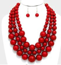 Big Red Pearl Multi Layered Strand Statement Bead Chunky Jewelry Necklace Set