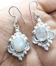 925 Sterling Silver Overlay Moon Stone Woman Dangle Ear ring Gemstone Jew EHR551
