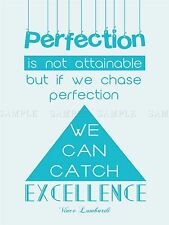 QUOTE PERFECTION CHASE CATCH EXCELLENCE LOMBARDI POSTER ART PRINT GIFT LF029