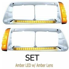 19 LED FREIGHTLINER FLD HEADLIGHT BEZEL (SET) WITH TURN SIGNALS - AMB/AMB