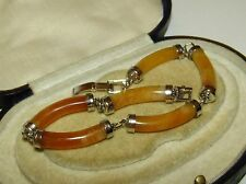 SUPERB, ART DECO, CHINESE STERLING SILVER BRACELET WITH NATURAL YELLOW JADE GEMS