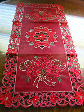 "Christmas Embroidered Table Runner Cut Work  Poinsettia 16"" x 34"" Red Gold NEW"