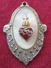 Antique Catholic Religious Medal - STERLING MOP MARCASITE / Sacred Heart - OLDER