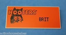 HOOTERS RESTAURANT GIRL BRIT ORANGE NAME TAG / PIN -  Waitress Pin