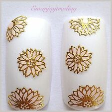 Nail Art 3D Decals/Stickers Pink Flowers with Gold Edging #138