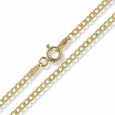"""375 9CT SOLID YELLOW GOLD 16"""" FLAT D/C DIAMOND CUT CURB LINK CHAIN NECKLACE"""
