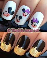 NAIL ART SET #94 MINNIE/MICKEY MOUSE WATER TRANSFERS/DECALS/STICKERS & GOLD LEAF