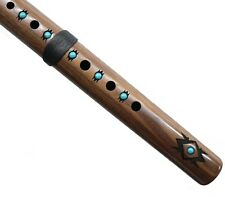 High Spirits Native American Style Flute Key of A Walnut with Turquoise Inlay