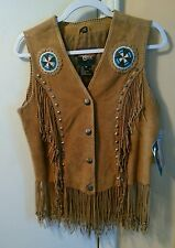 CRIPPLE CREEK Western Beaded Fringed Studded & Laced Suede Leather Vest Sz M NWT