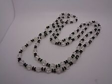 """VINTAGE FLAPPER LENGTH GLASS BLACK AND CLEAR BEADED NECKLACE HAND KNOTTED 50"""""""
