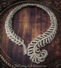 Stunning white crystal bling vintage leaf statement bridal collar necklace