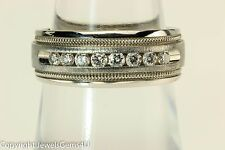 TESSLER & WEISS 0.32 ct Round Diamond 14K White Gold 8 stones Ring Band Sz.6.75
