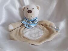 Doudou ours beige, blanc, bandana rayé, TCM,  Blankie, Lovey, newborn toy