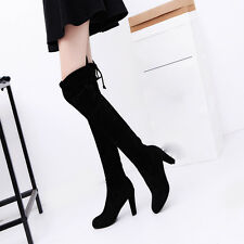 Women Ladies Stretch Faux Slim High Boots Over The Knee Boots High Heels Shoes