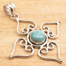 High End LARIMAR Gemstone Fashion Week Pendant 2 Inches ! Silver Plated Jewelry