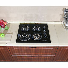 "New 24"" Black Electric Tempered Glass Built-in Kitchen 4 Burner Gas Hob Cooktops"