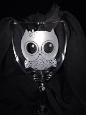 Engraved Wine Glass with Cute Owl Design - Personalisation can be added