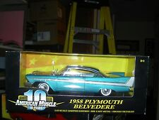 ERTL American Muscle 1958 Plymouth Belvedere Coupe Metallic Blue , # 36428, New