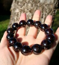 Nature Blackberry Deep Red GARNET 15mm 14 Pcs Beads Bracelet Men Madagascar 103g