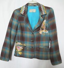JOHNNY WAS  Plaid Embroidered Jacket Blazer with Butterfly & Flowers sz M