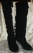 VINTAGE BLACK SUEDE LEATHER KNEE HIGH RIDING STYLE LOW HEEL BOOTS 9 M by  FLINGS