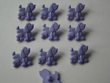 10 x LILAC DOG (Poodle) BUTTONS ~ Size 18mm x 20mm CHILDREN/CRAFT