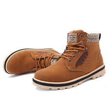 Men's Snow Boots Winter Warm Combat Hiking Lace Up Fur Lined Ankle Shoes Casual
