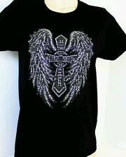 "MENS T SHIRTS HOTFIX RHINESTONES HEAT TRANSFER  ""Large Big Cross WING  """