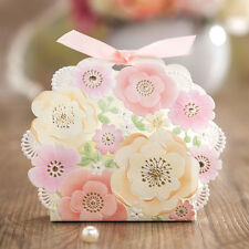 10X Pink Wedding Favours Candy Sweets Boxes Bags Table Decorations Spring Flower