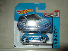 Hot Wheels 2015 Fiat 500 Polizia Treasure Hunt Error Euro Short Card Sealed