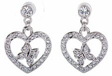 Swarovski Elements Crystal Heart Butterfly Pierced Earrings Rhodium Plated 7107y