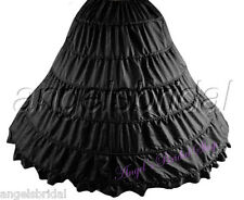 BLACK 6-HOOP BRIDAL WEDDING GOWN DRESS HALLOWEEN COSTUME PETTICOAT SKIRT SLIP