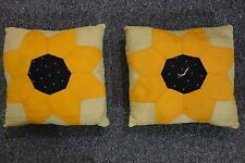 """1920's Patchwork Pillows- 2- SUNFLOWERS- 9""""x10""""-Quilted Backs - CHARMING -SALE"""
