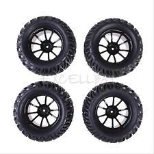 New 4PCS Wheel Rim + Tires For HSP 1:10 Monster Truck RC Car 12mm Hub Black #EX