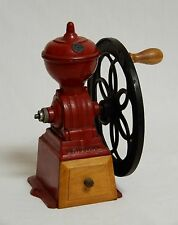 Antique Original Spanish Red Cast Iron Coffee Grinder Mill Flywheel MJF