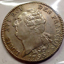 1793 FRANCE LOUIS 16 ECU RARE VERY HIGH GRADE SILVER CROWN