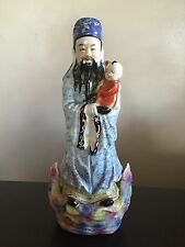 Fine 19th / 20th C Chinese Porcelain Famille Rose God Statue Child Art SIGNED