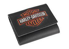 Harley-Davidson® Men's Bar & Shield Tri-fold Black Leather Wallet XML4363-ORGBLK