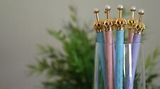 Q-Teen 1pc Lovely Color Pearl Crown Ball Point Pen Kids Gift Office Craft Supply