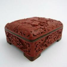 CHINESE CINNABAR LACQUER AND ENAMEL BOX WITH HINGED LID