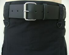 Black Leather Utility Kilt Belt Fitted Fine Quality Buckle For Men's