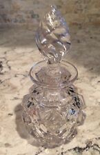Vintage Antique Glass Crystal Perfume Bottle Container W/ Lid Decanter Jar
