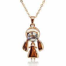 14k Rose Gold plated Diamond simulant eye girl pendant necklace