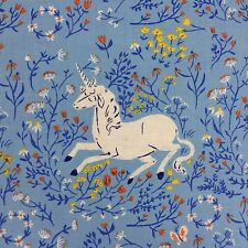 By 1/2 Yard ~ Windham Far Far Away Unicorn Fabric by Heather Ross ~ light blue