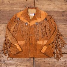 "Mens Vintage 1970s Schott Suede Leather Tassled Jacket Western Size L 46"" R2851"