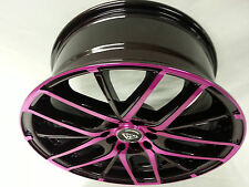 "17"" # 0029 White Diamond Edition wheels 4 RIMS Maroon & Pink 4X100  NEW PRODUCT"